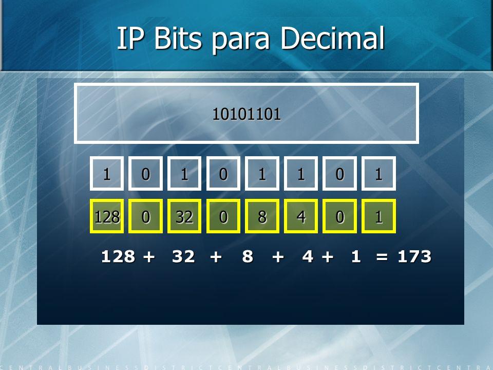 IP Bits para Decimal 10101101 1 1 1 1 1 128 32 8 4 1 128 + 32 + 8 + 4