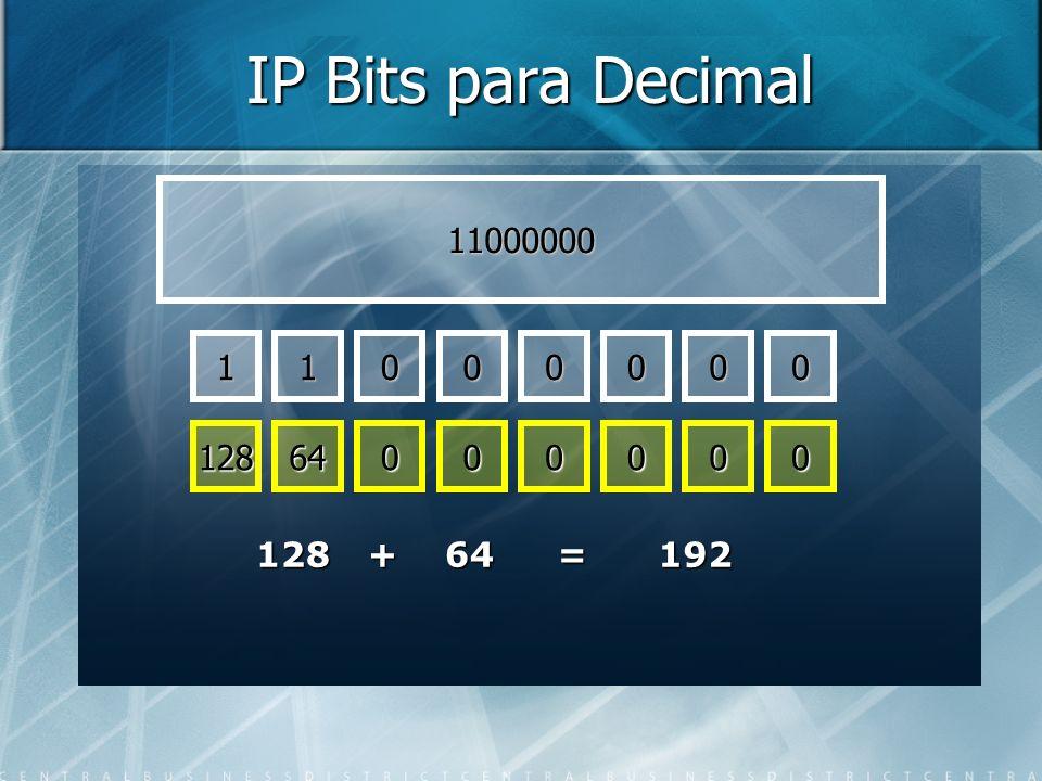 IP Bits para Decimal 11000000 1 1 128 64 128 + 64 = 192