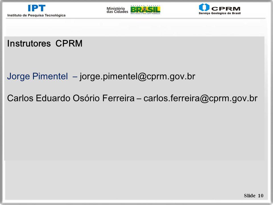 Instrutores CPRMJorge Pimentel – jorge.pimentel@cprm.gov.br.