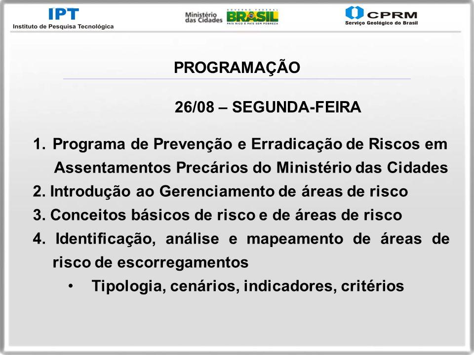 PROGRAMAÇÃO26/08 – SEGUNDA-FEIRA. Programa de Prevenção e Erradicação de Riscos em. Assentamentos Precários do Ministério das Cidades.