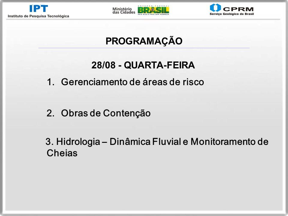 PROGRAMAÇÃO 28/08 - QUARTA-FEIRA. Gerenciamento de áreas de risco.