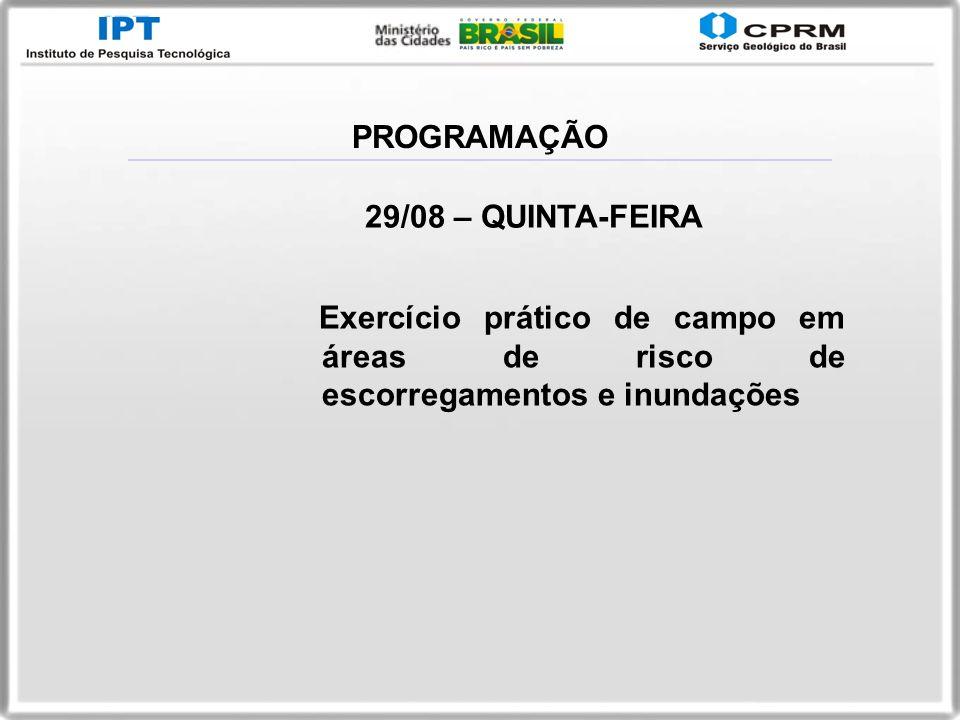 PROGRAMAÇÃO 29/08 – QUINTA-FEIRA.