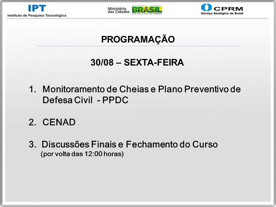 PROGRAMAÇÃO 30/08 – SEXTA-FEIRA