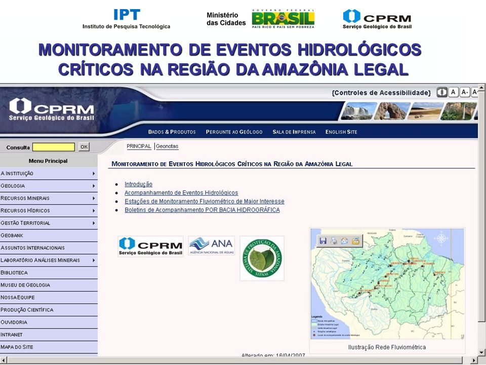MONITORAMENTO DE EVENTOS HIDROLÓGICOS