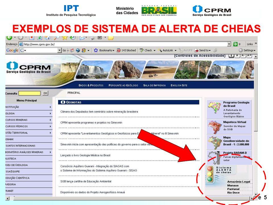EXEMPLOS DE SISTEMA DE ALERTA DE CHEIAS