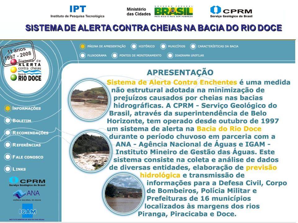 SISTEMA DE ALERTA CONTRA CHEIAS NA BACIA DO RIO DOCE