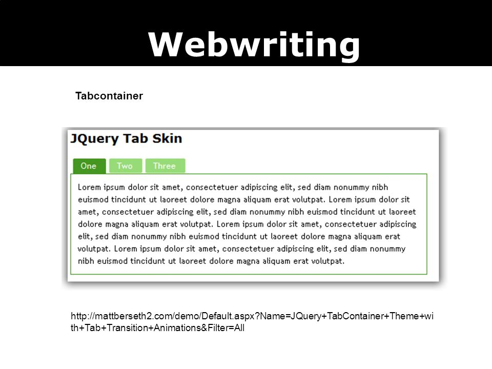 Webwriting Tabcontainer