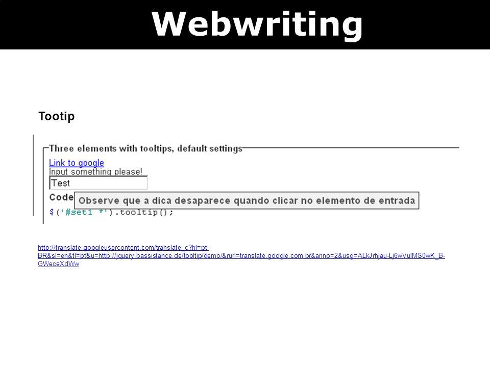 Webwriting Tootip.