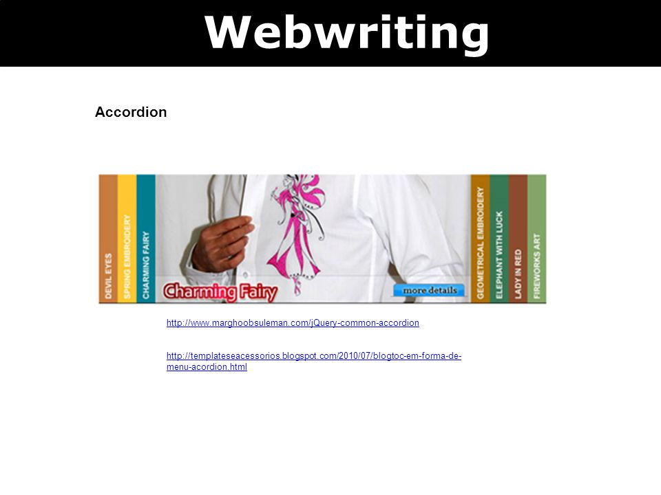 Webwriting Accordion.