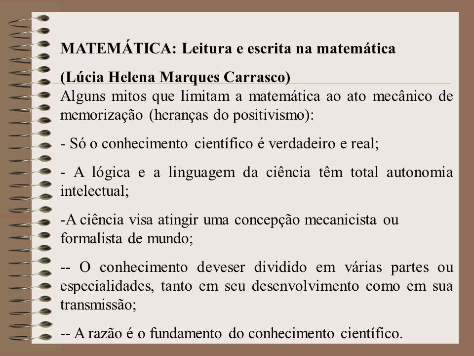 MATEMÁTICA: Leitura e escrita na matemática