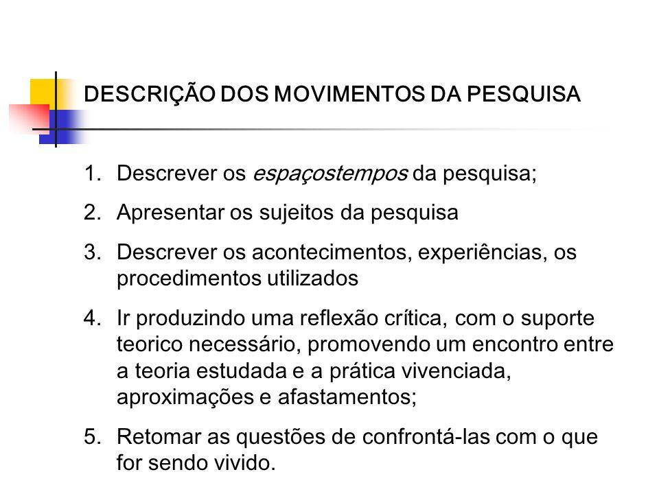 DESCRIÇÃO DOS MOVIMENTOS DA PESQUISA