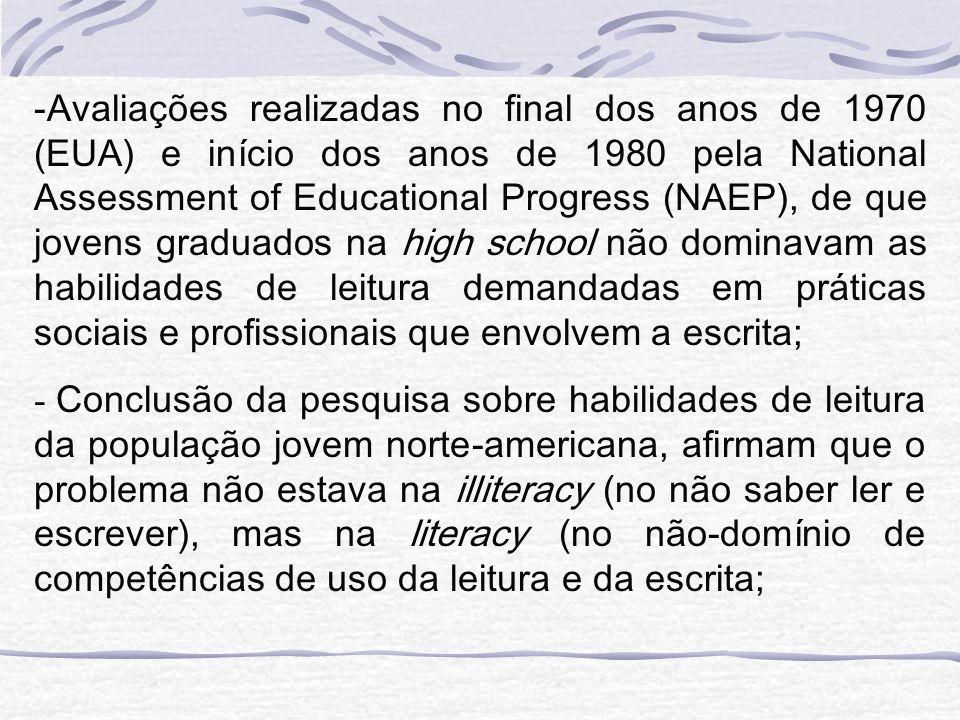 Avaliações realizadas no final dos anos de 1970 (EUA) e início dos anos de 1980 pela National Assessment of Educational Progress (NAEP), de que jovens graduados na high school não dominavam as habilidades de leitura demandadas em práticas sociais e profissionais que envolvem a escrita;