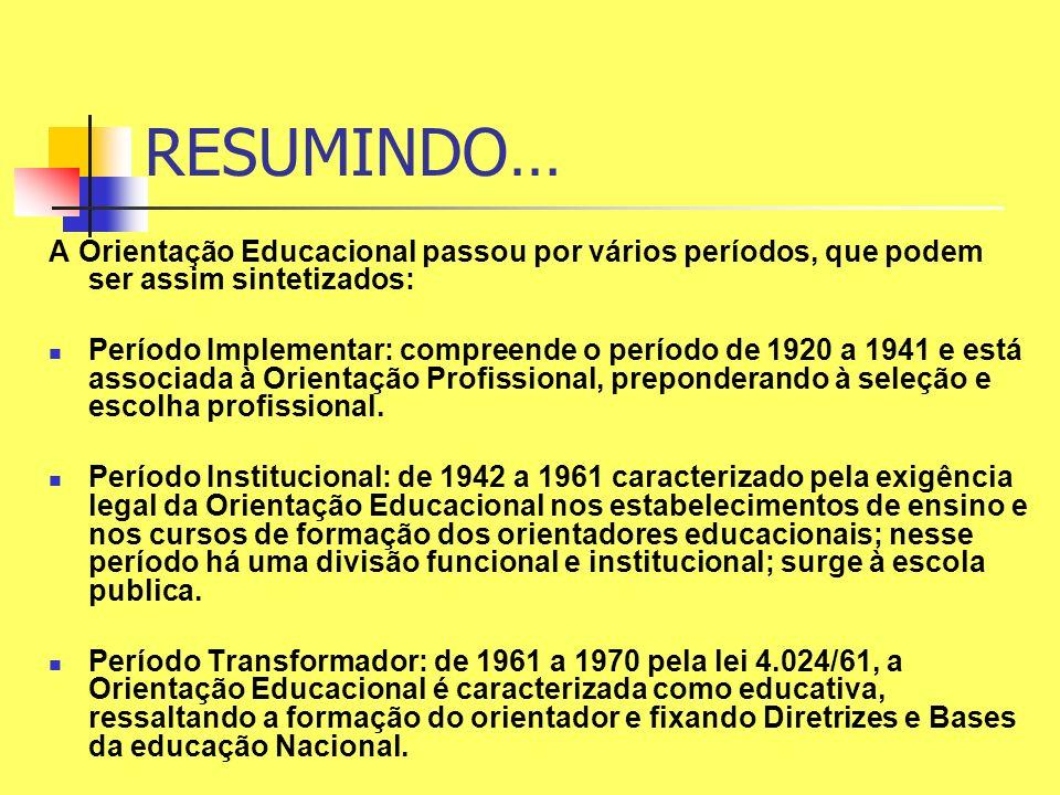 RESUMINDO… A Orientação Educacional passou por vários períodos, que podem ser assim sintetizados: