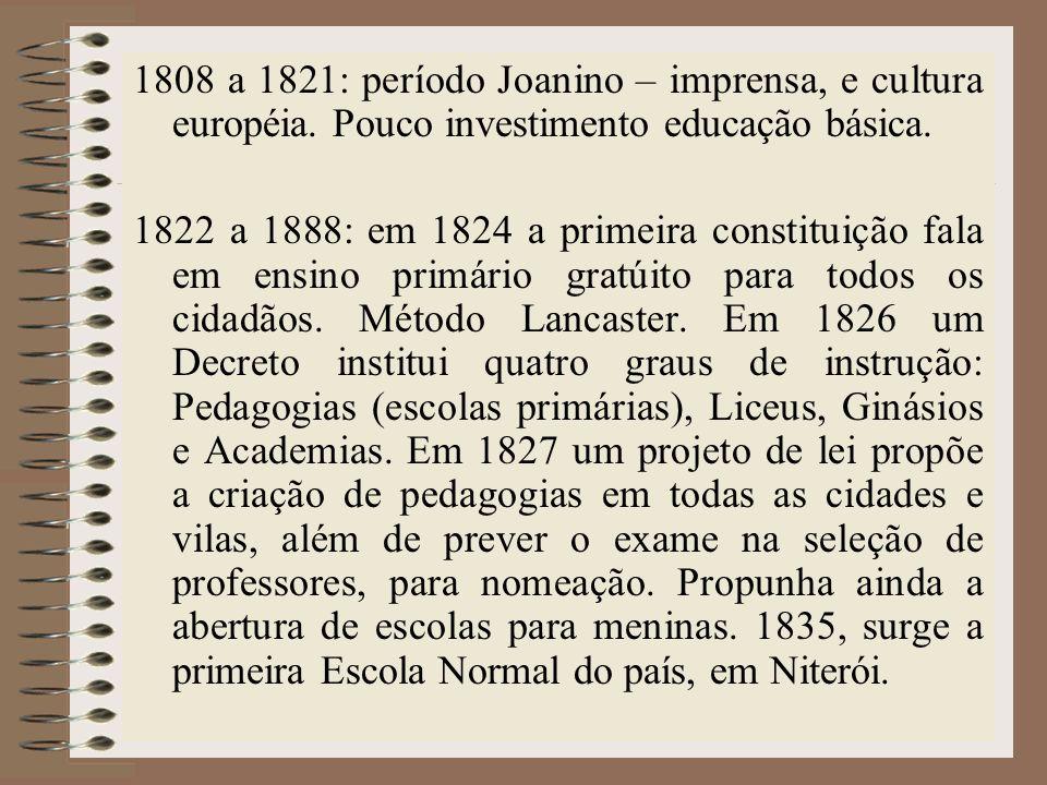 1808 a 1821: período Joanino – imprensa, e cultura européia