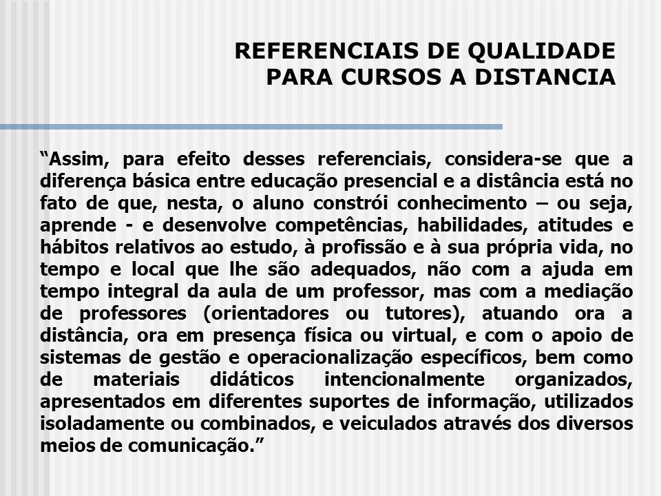 REFERENCIAIS DE QUALIDADE PARA CURSOS A DISTANCIA