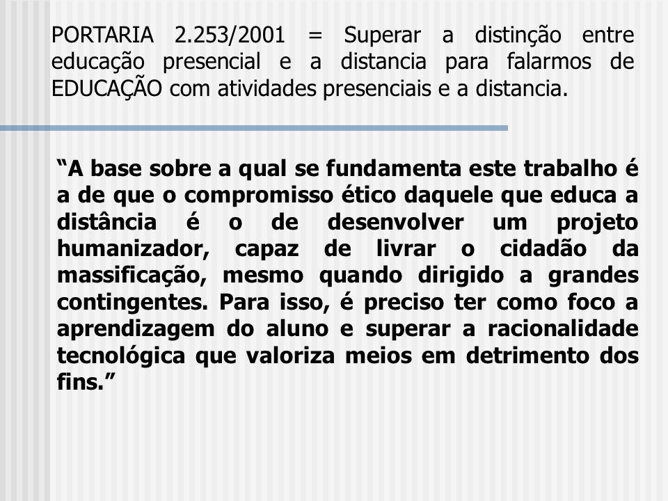 PORTARIA 2.253/2001 = Superar a distinção entre educação presencial e a distancia para falarmos de EDUCAÇÃO com atividades presenciais e a distancia.