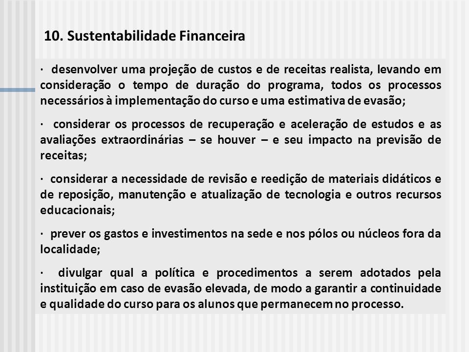 10. Sustentabilidade Financeira