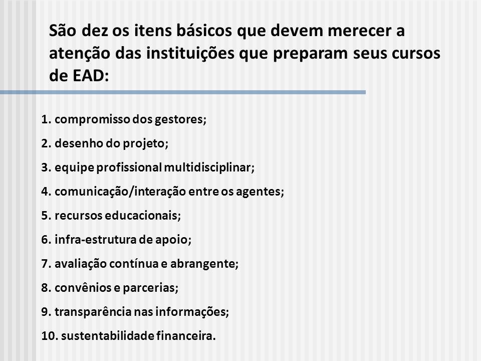 São dez os itens básicos que devem merecer a atenção das instituições que preparam seus cursos de EAD: