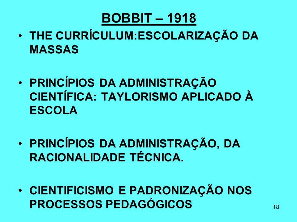 BOBBIT – 1918 THE CURRÍCULUM:ESCOLARIZAÇÃO DA MASSAS