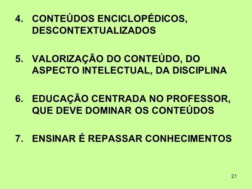 CONTEÚDOS ENCICLOPÉDICOS, DESCONTEXTUALIZADOS