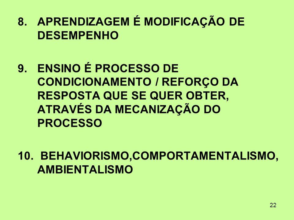 APRENDIZAGEM É MODIFICAÇÃO DE DESEMPENHO