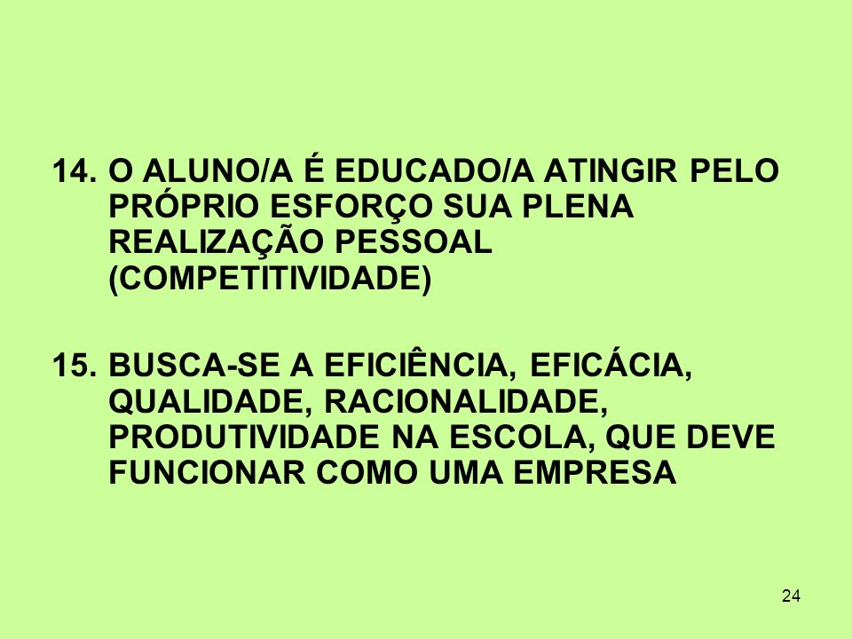 O ALUNO/A É EDUCADO/A ATINGIR PELO PRÓPRIO ESFORÇO SUA PLENA REALIZAÇÃO PESSOAL (COMPETITIVIDADE)
