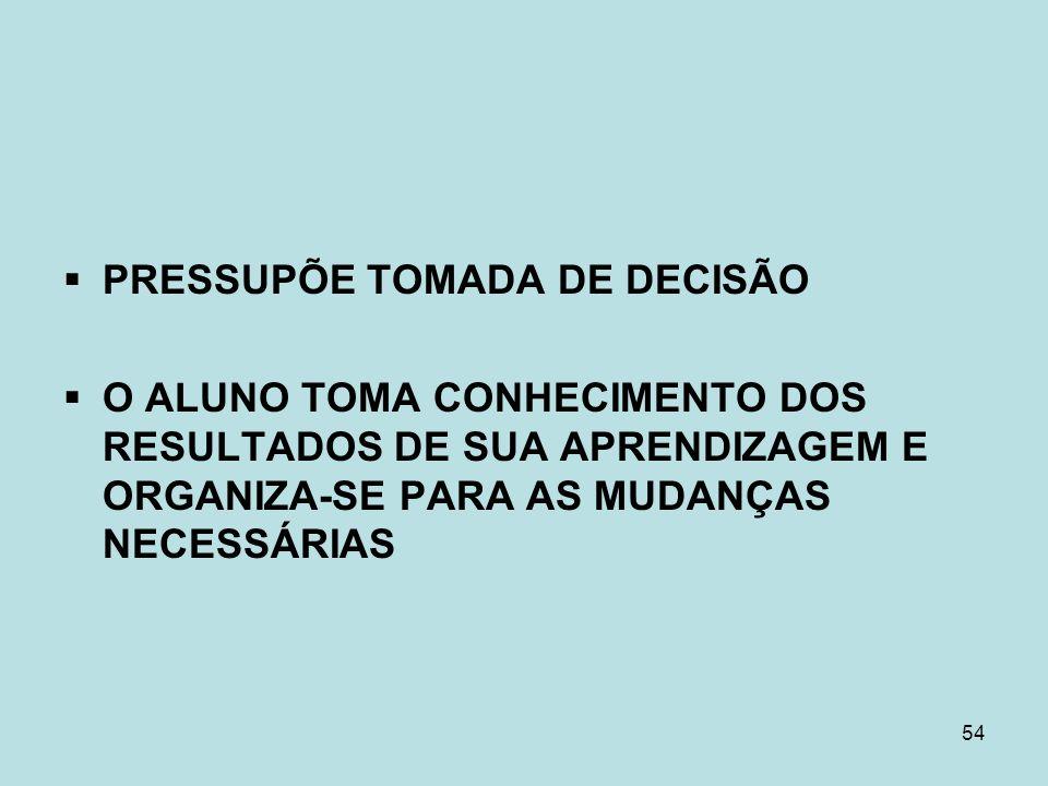 PRESSUPÕE TOMADA DE DECISÃO