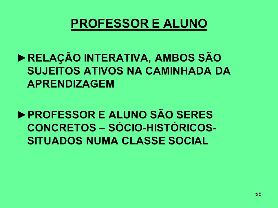 PROFESSOR E ALUNO RELAÇÃO INTERATIVA, AMBOS SÃO SUJEITOS ATIVOS NA CAMINHADA DA APRENDIZAGEM.