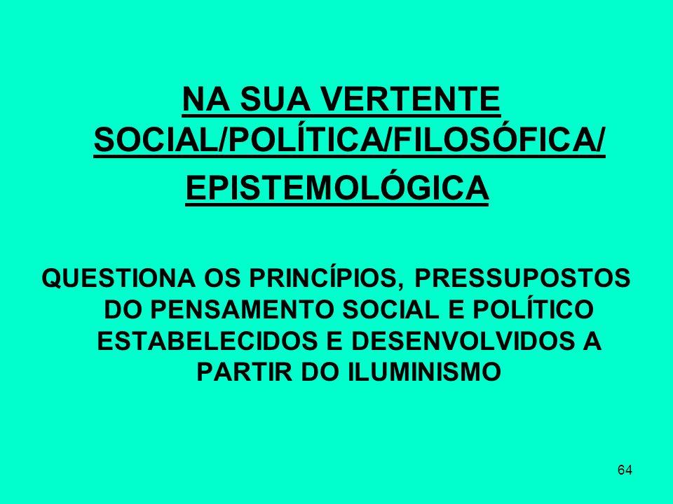 NA SUA VERTENTE SOCIAL/POLÍTICA/FILOSÓFICA/