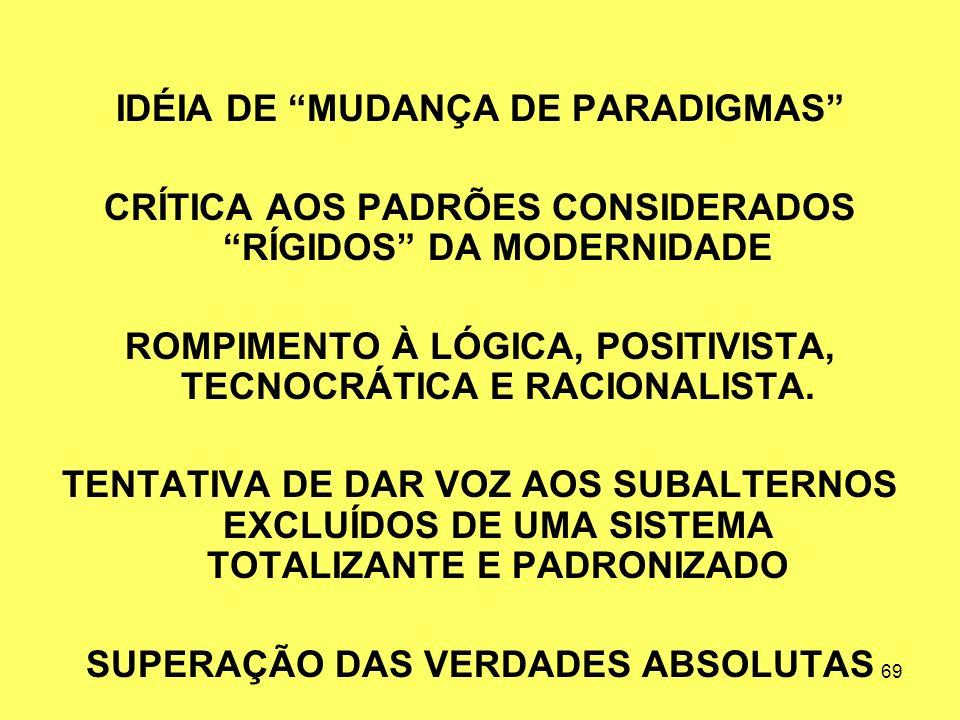 IDÉIA DE MUDANÇA DE PARADIGMAS