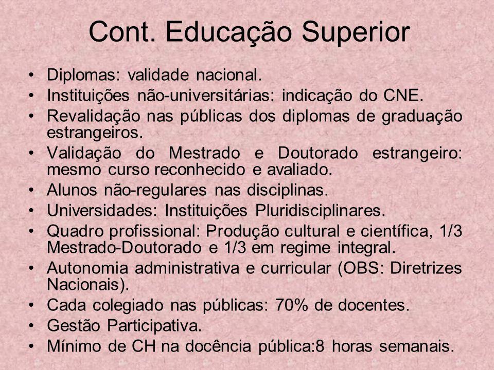 Cont. Educação Superior