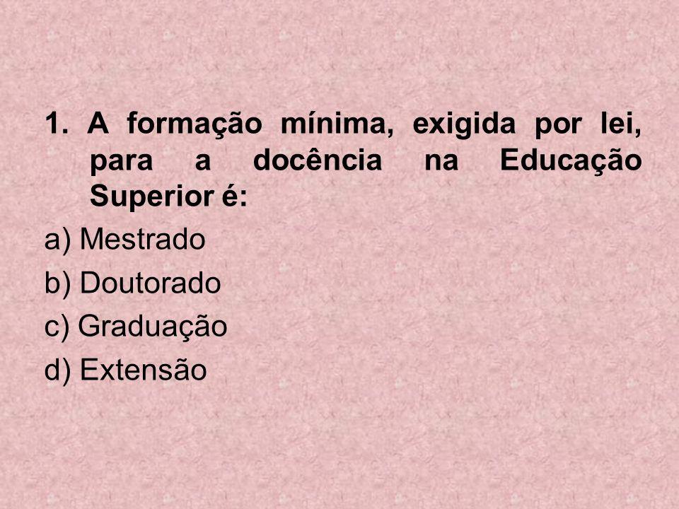 1. A formação mínima, exigida por lei, para a docência na Educação Superior é: