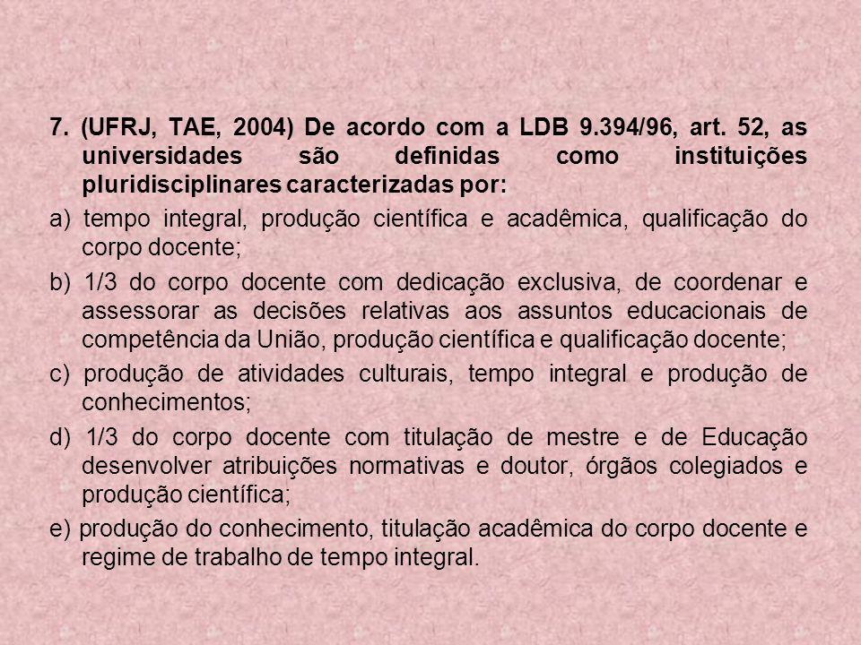 7. (UFRJ, TAE, 2004) De acordo com a LDB 9. 394/96, art