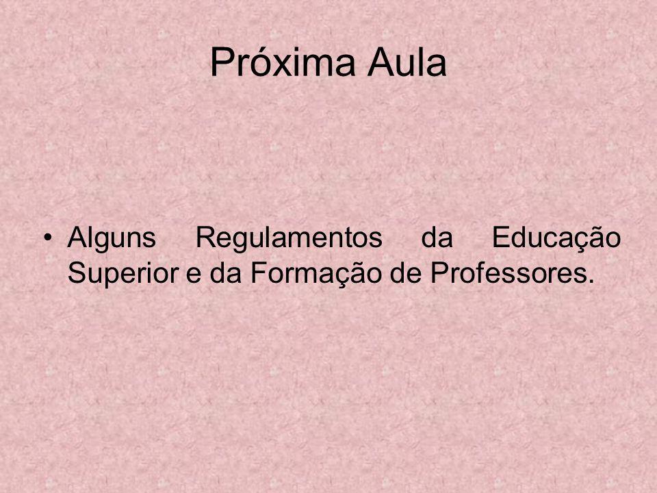 Próxima Aula Alguns Regulamentos da Educação Superior e da Formação de Professores.