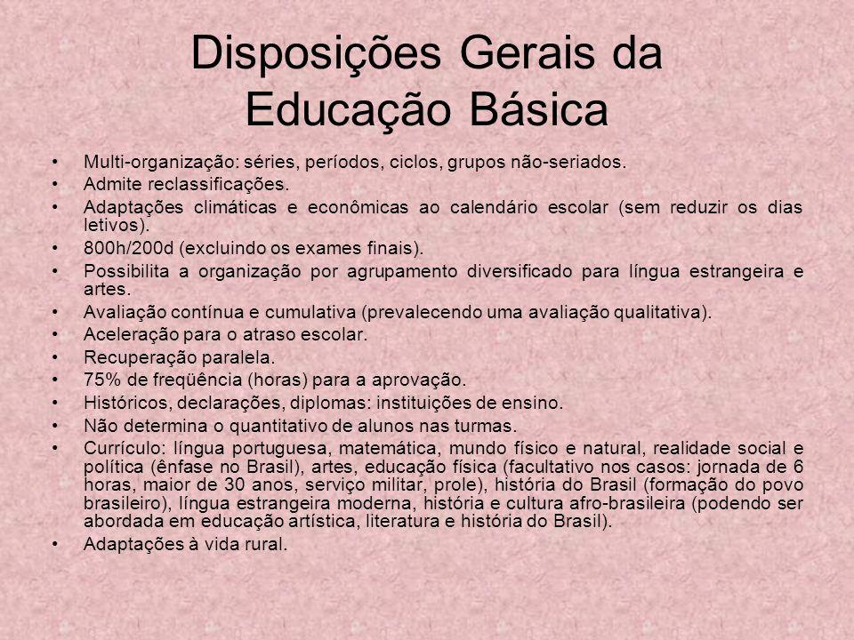 Disposições Gerais da Educação Básica