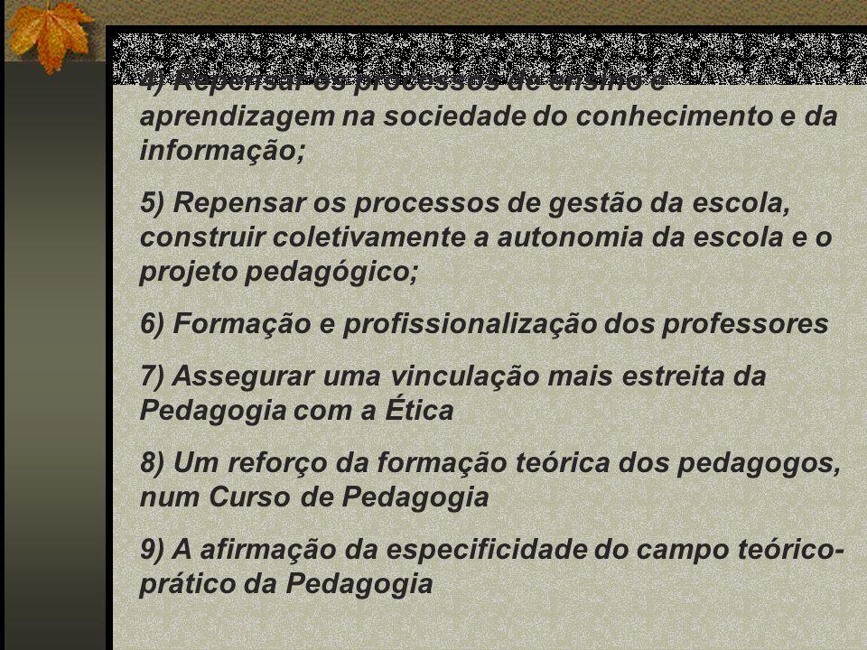 4) Repensar os processos de ensino e aprendizagem na sociedade do conhecimento e da informação;