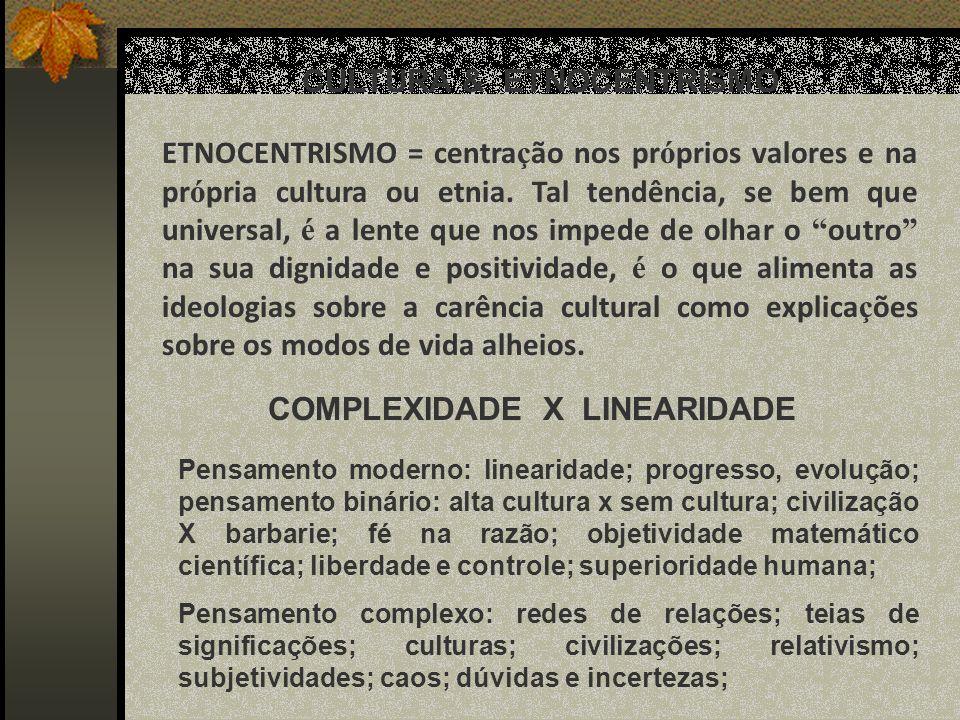 CULTURA & ETNOCENTRISMO COMPLEXIDADE X LINEARIDADE