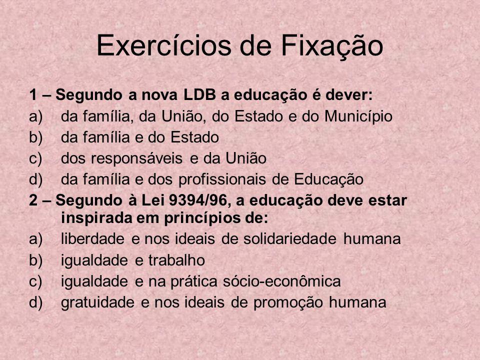 Exercícios de Fixação 1 – Segundo a nova LDB a educação é dever: