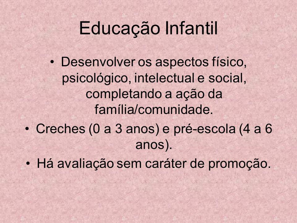 Educação Infantil Desenvolver os aspectos físico, psicológico, intelectual e social, completando a ação da família/comunidade.