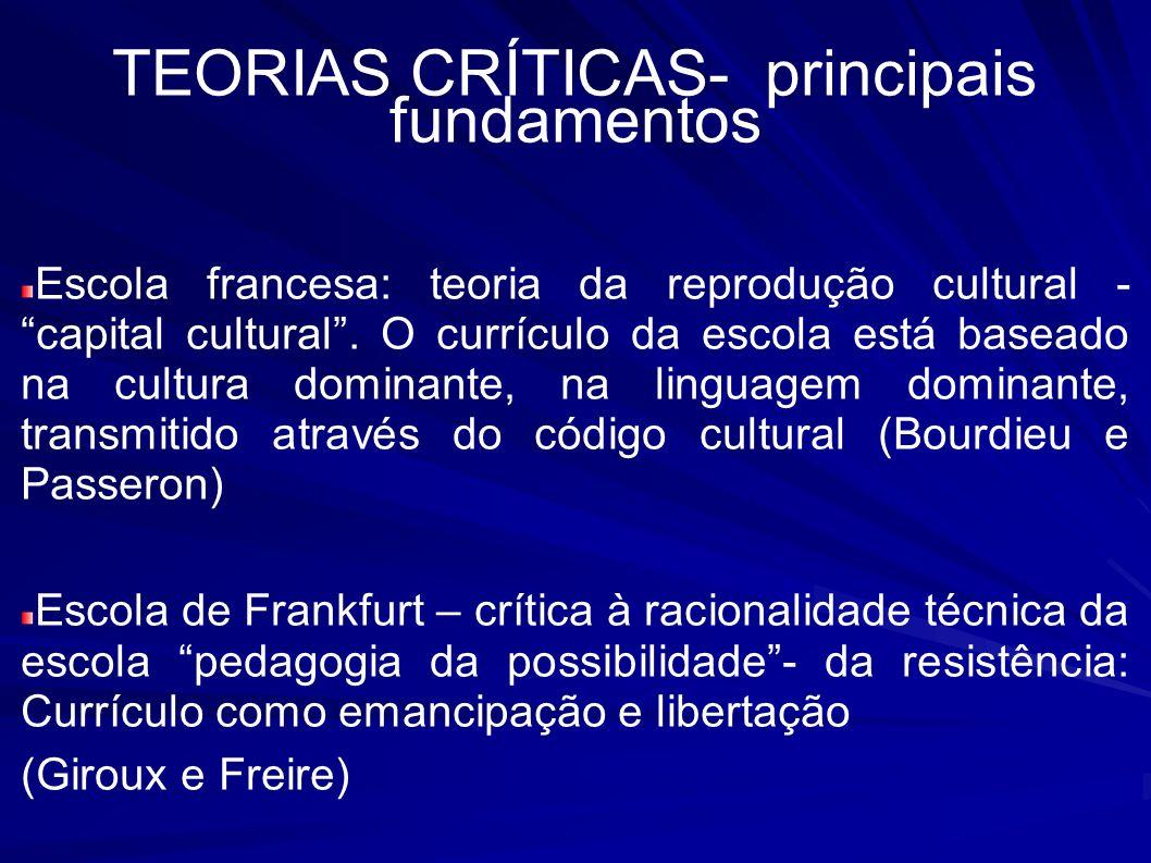 TEORIAS CRÍTICAS- principais fundamentos