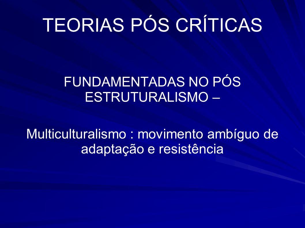 TEORIAS PÓS CRÍTICAS FUNDAMENTADAS NO PÓS ESTRUTURALISMO –