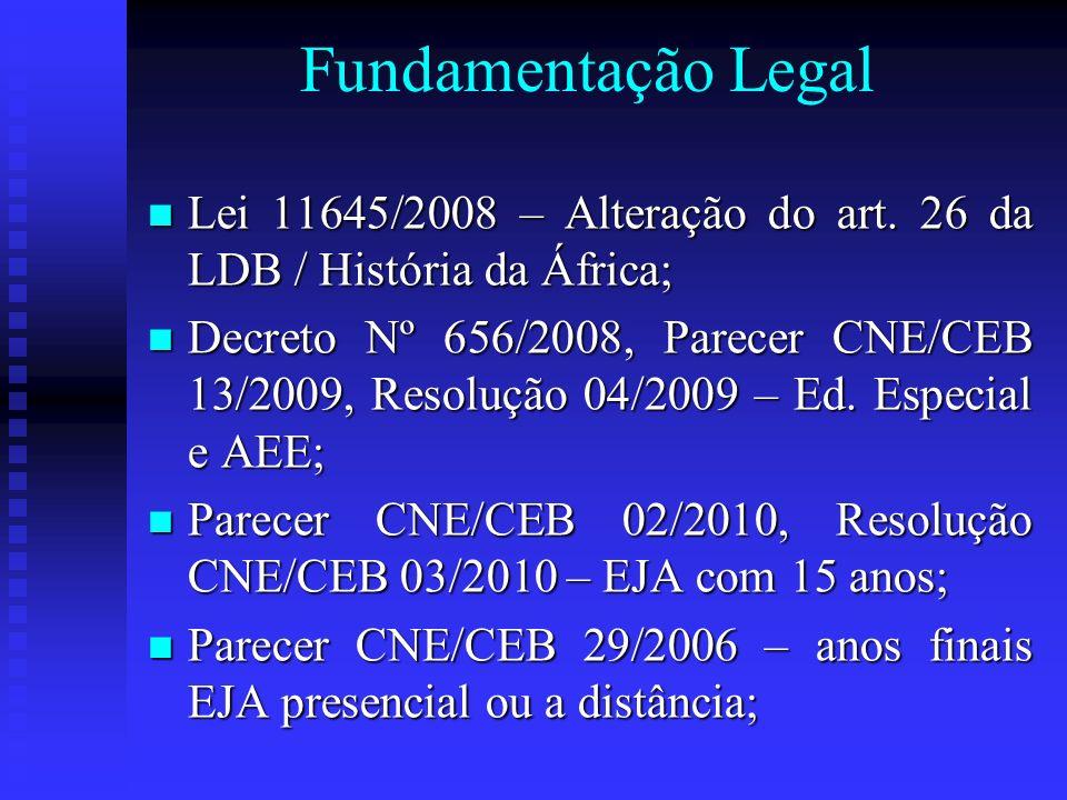 Fundamentação Legal Lei 11645/2008 – Alteração do art. 26 da LDB / História da África;