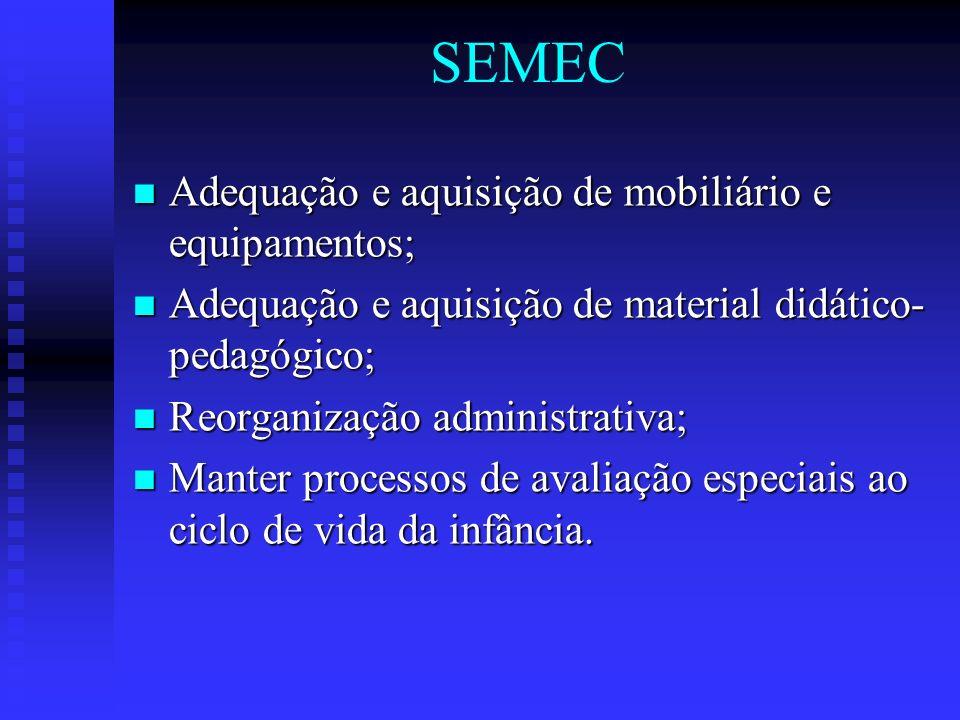 SEMEC Adequação e aquisição de mobiliário e equipamentos;