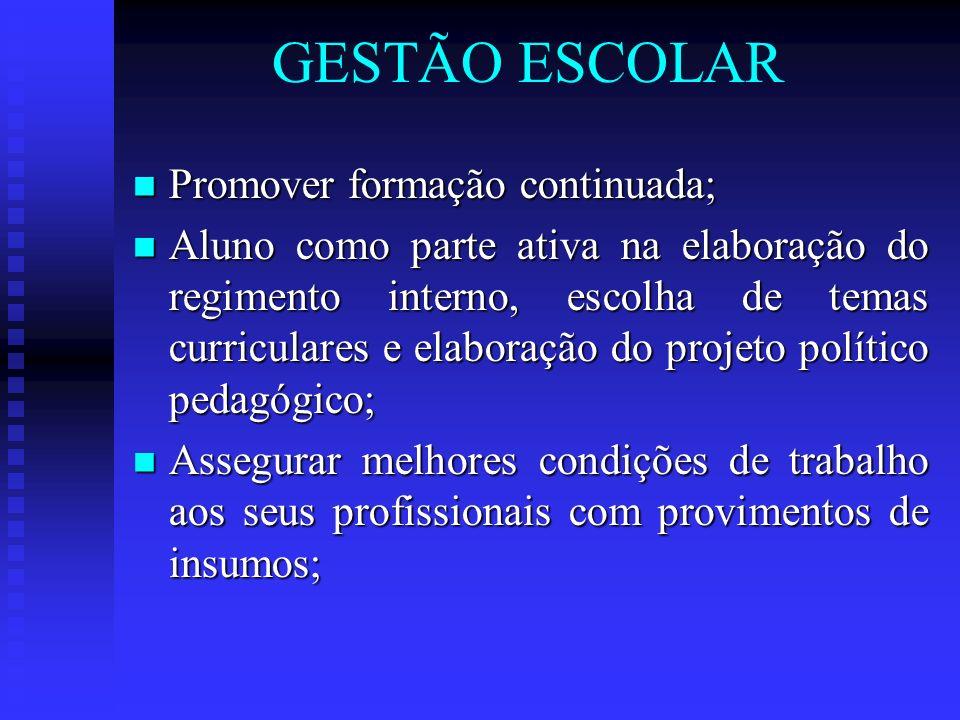 GESTÃO ESCOLAR Promover formação continuada;