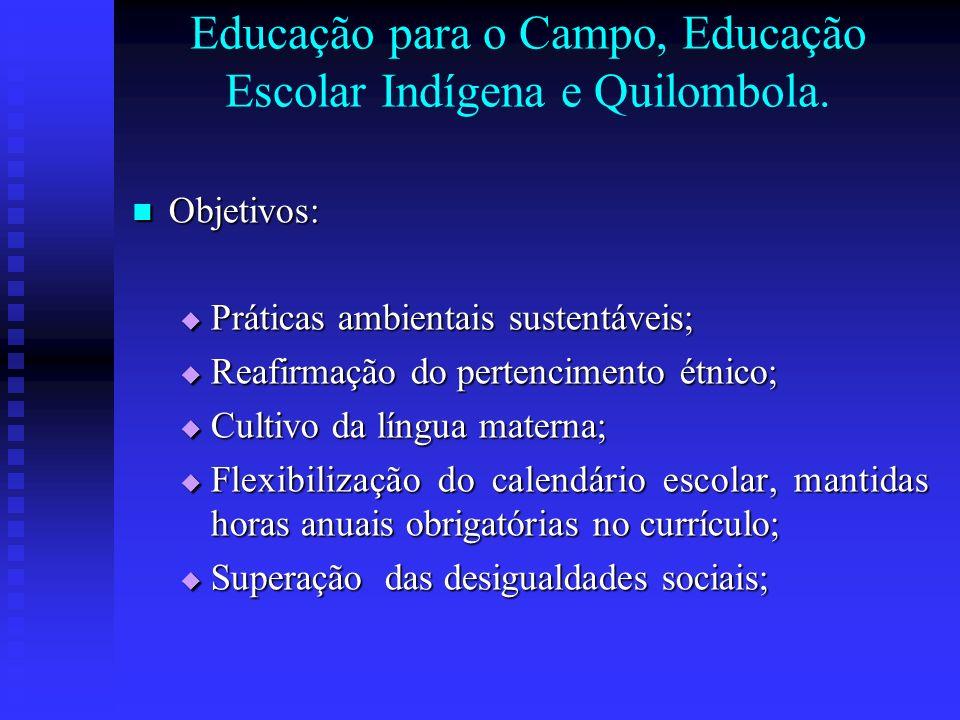 Educação para o Campo, Educação Escolar Indígena e Quilombola.
