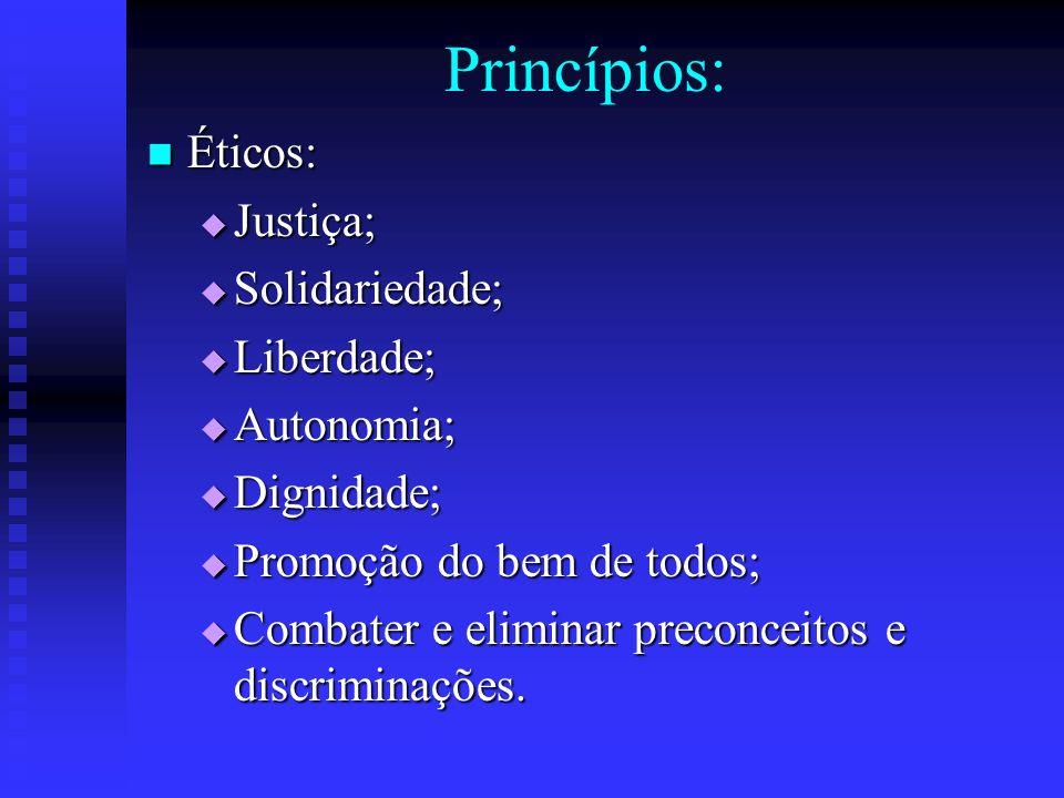 Princípios: Éticos: Justiça; Solidariedade; Liberdade; Autonomia;