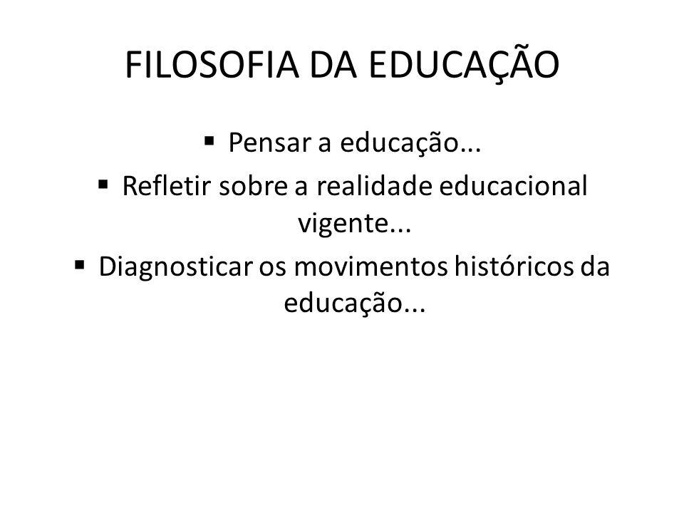 FILOSOFIA DA EDUCAÇÃO Pensar a educação...