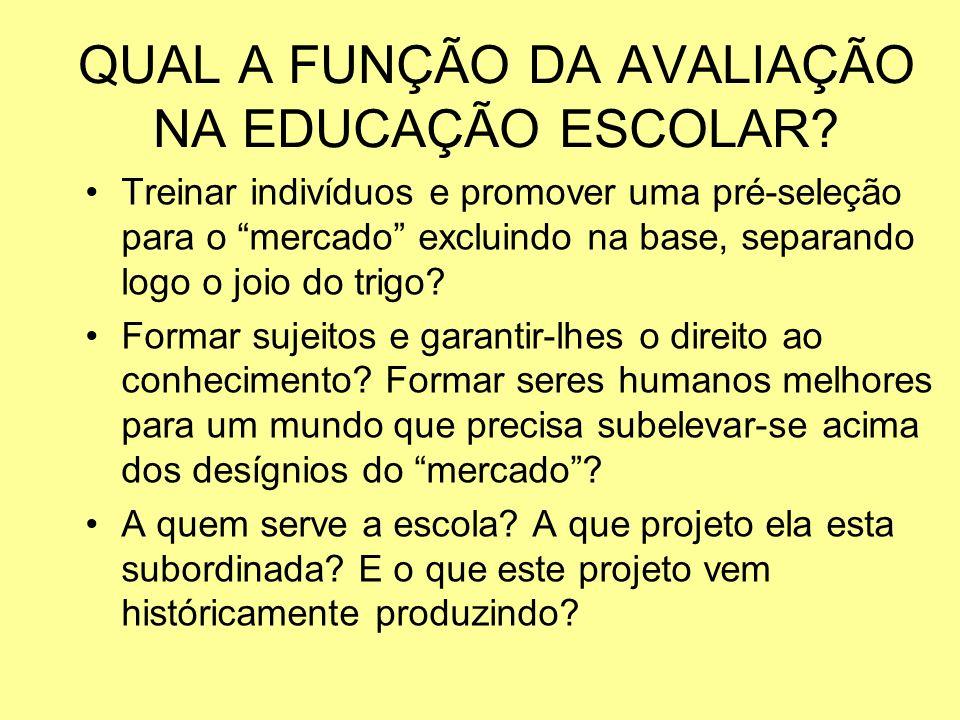 QUAL A FUNÇÃO DA AVALIAÇÃO NA EDUCAÇÃO ESCOLAR
