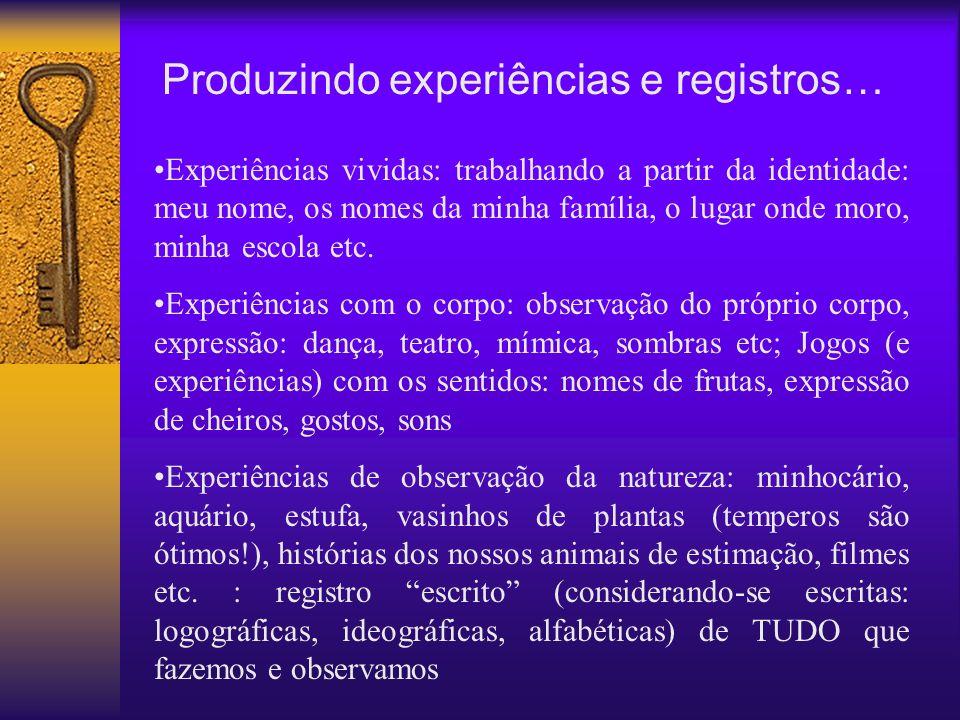 Produzindo experiências e registros…