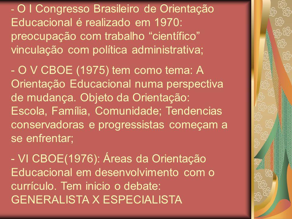 O I Congresso Brasileiro de Orientação Educacional é realizado em 1970: preocupação com trabalho científico vinculação com política administrativa;